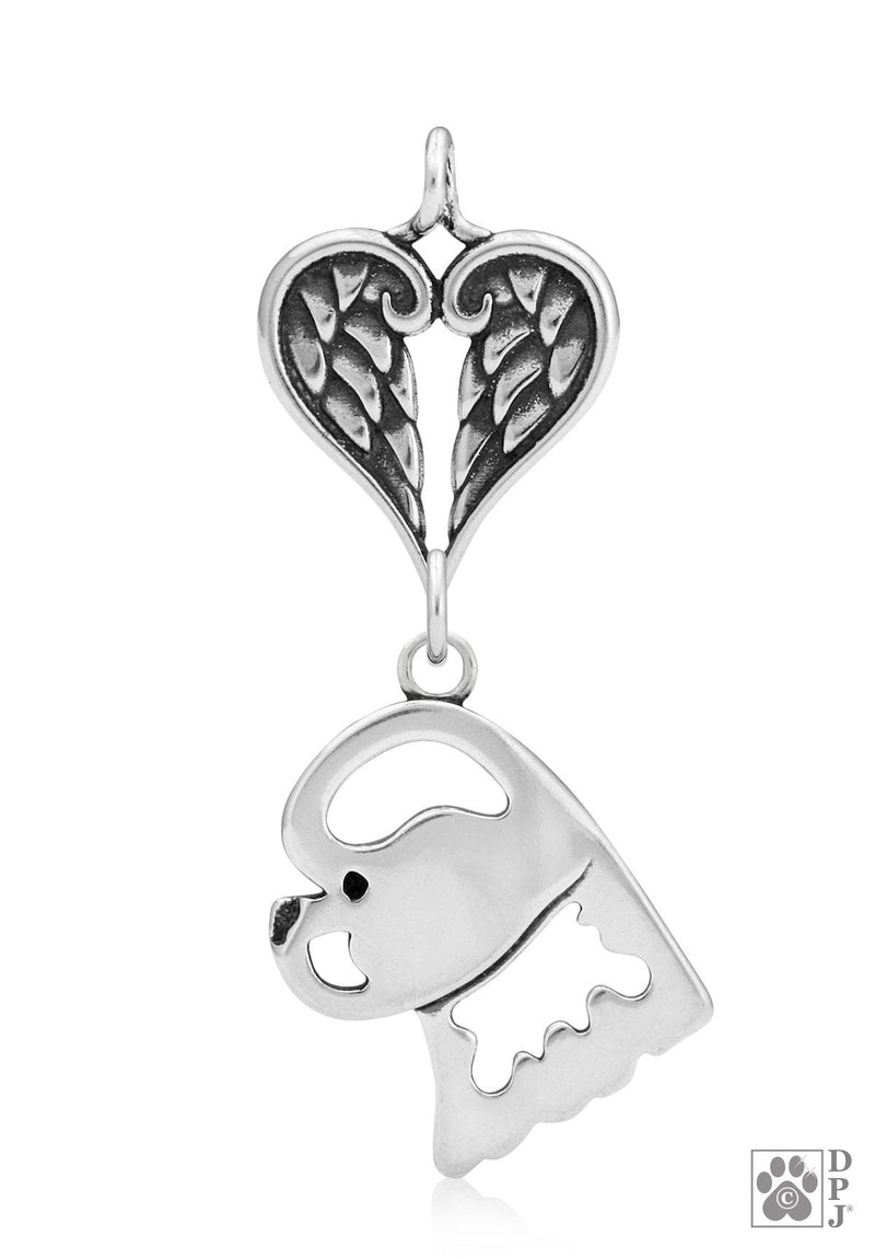 Bichon Frise, Head, with Healing Angels Pendant