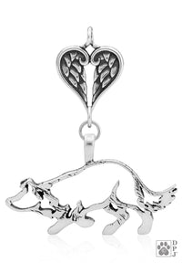 Border Collie Large Crouch, Body, with Healing Angels Pendant