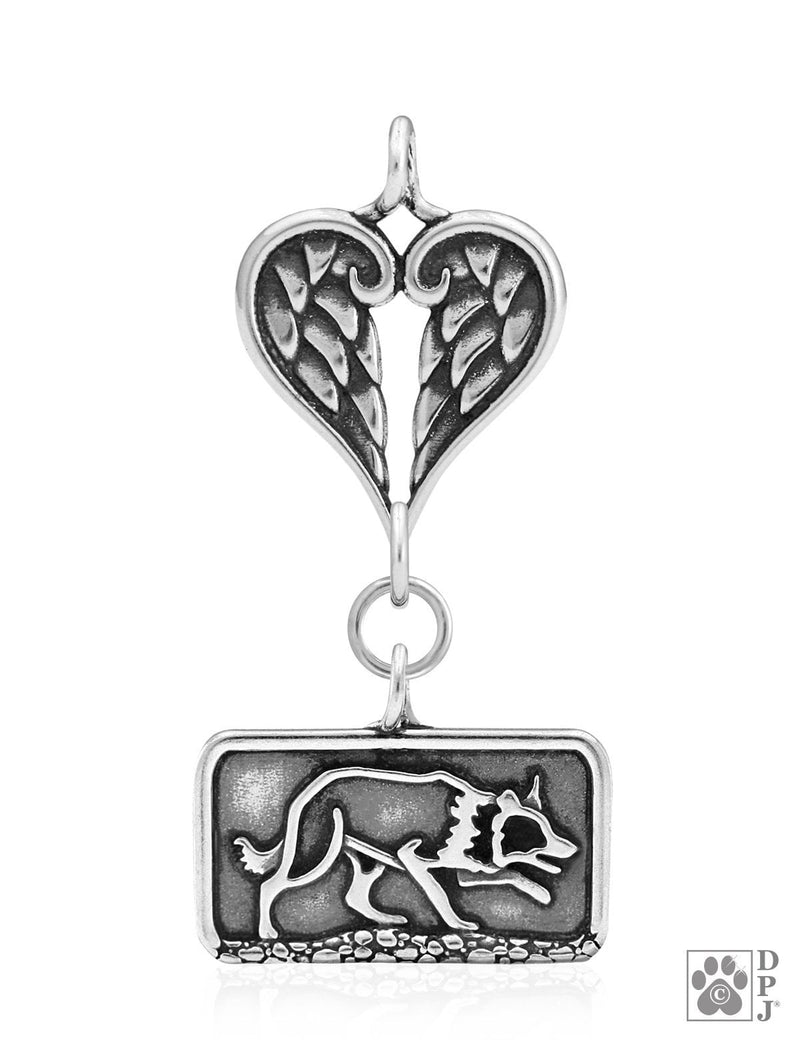 Border Collie Sizzlling Crouch, Body, with Healing Angels Pendant