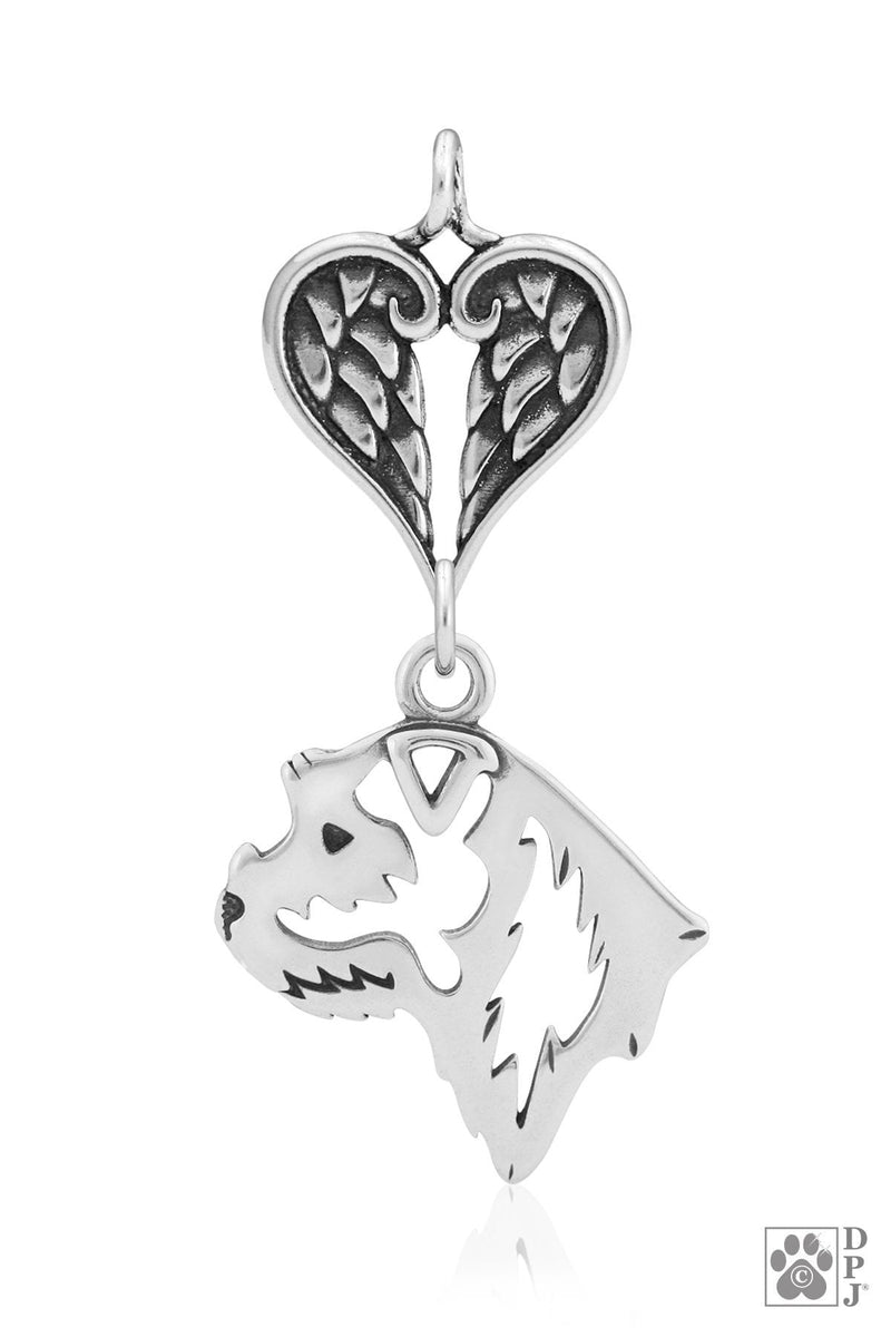 Border Terrier, Head, with Healing Angels Pendant