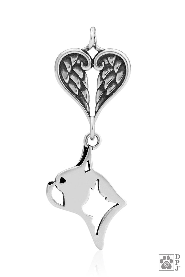 Boston Terrier, Head, with Healing Angels Pendant
