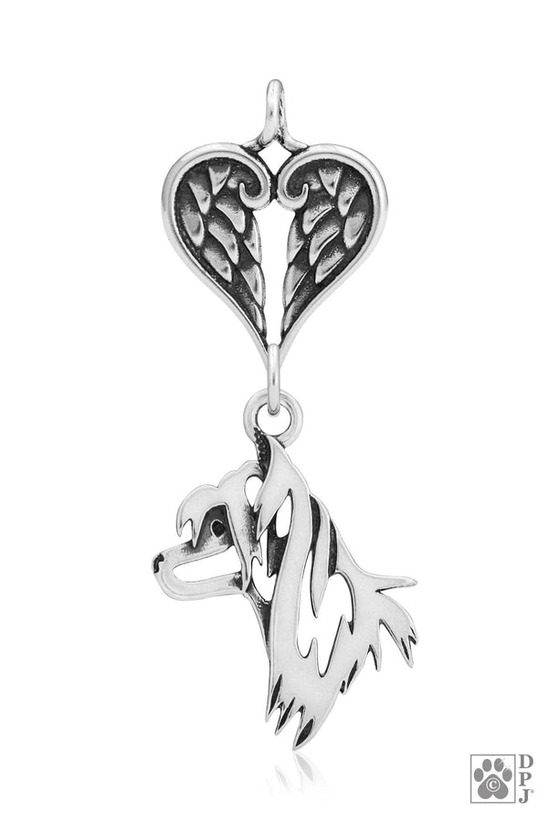 Chinese Crested, Head, with Healing Angels Pendant