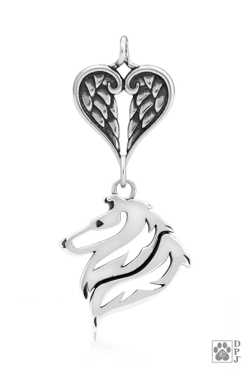 Collie, Rough Coat, Head, with Healing Angels Pendant