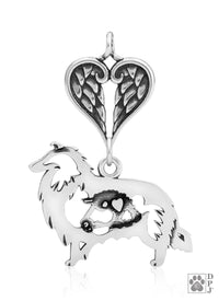 Collie, Rough Coat w/Sheep, Body, with Healing Angels Pendant