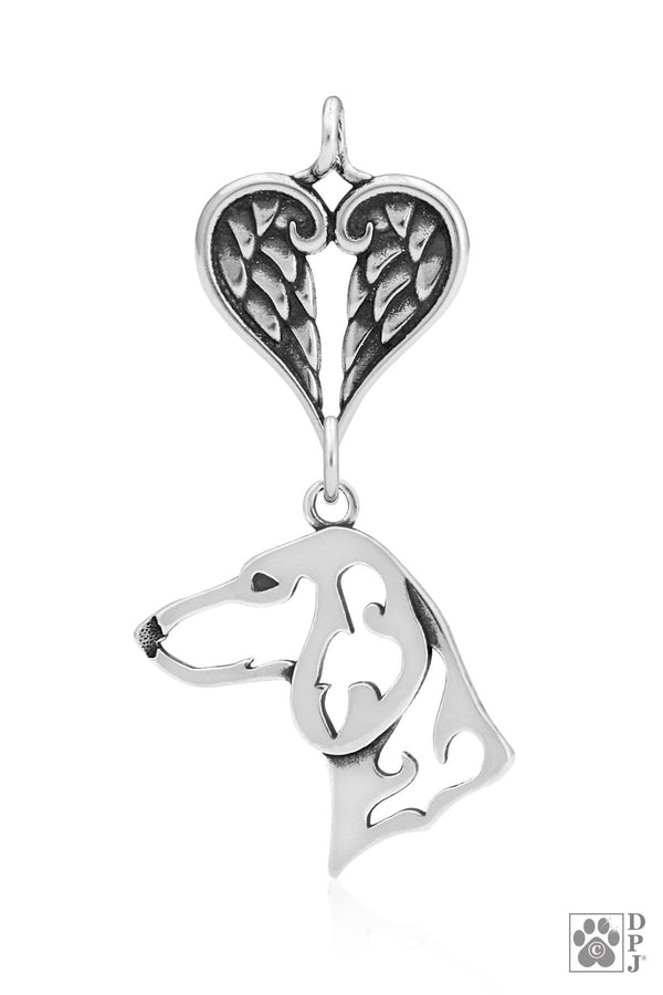Dachshund Smooth Coat, Head, with Healing Angels Pendant