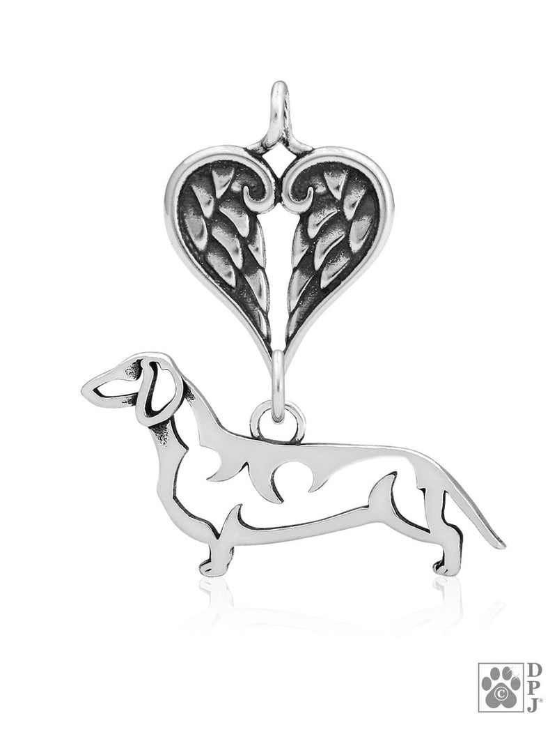 Dachshund Smooth Coat, Body, with Healing Angels Pendant