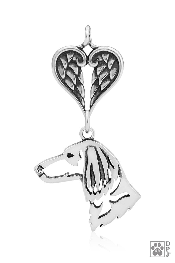 Dachshund Longhaired, Head, with Healing Angels Pendant