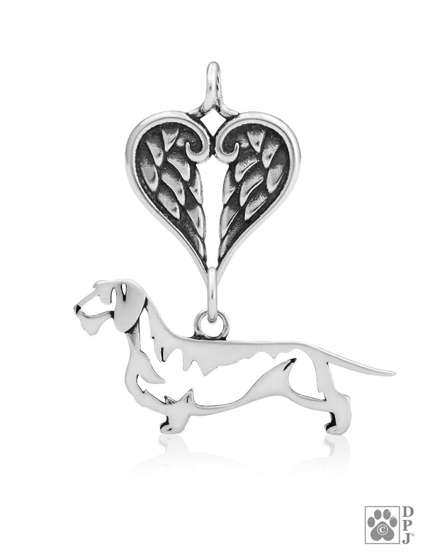 Dachshund Wirehaired, Body, with Healing Angels Pendant