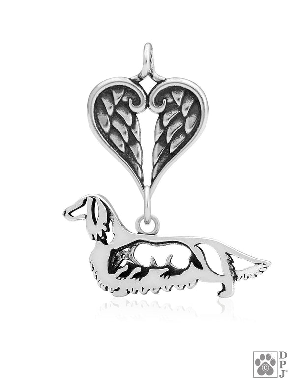 Dachshund Longhaired w/Badger, Body, with Healing Angels Pendant