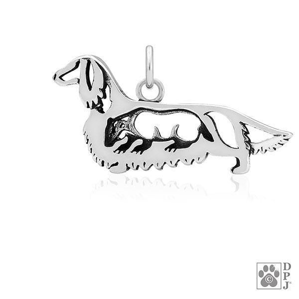 Dachshund Longhaired w/Badger, Body, Pendant