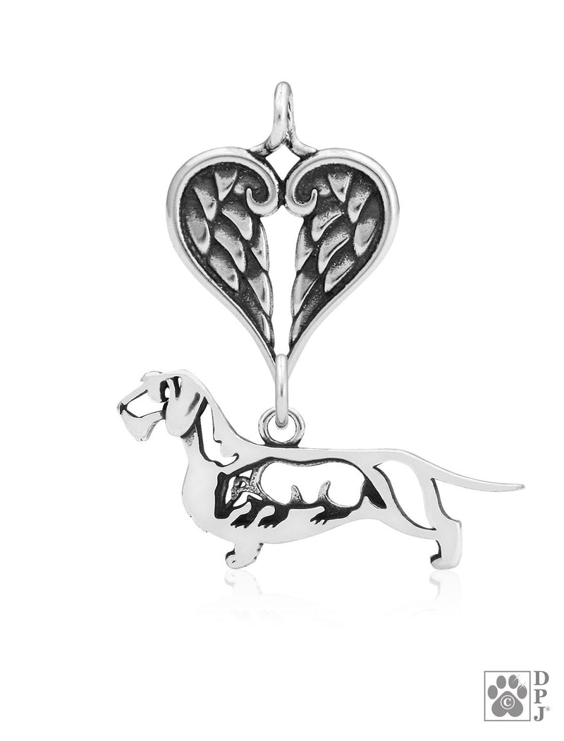 Dachshund Wirehaired w/Badger, Body, with Healing Angels Pendant