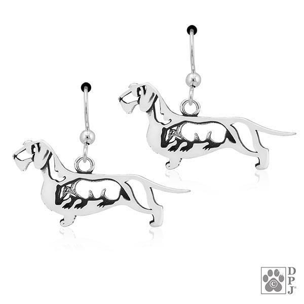 Dachshund Wirehaired w/Badger, Body, Earring
