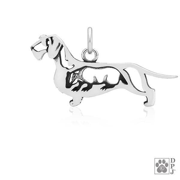Dachshund Wirehaired w/Badger, Body, Pendant