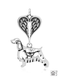 English Springer Spaniel w/Pheasant, Body, with Healing Angels Pendant