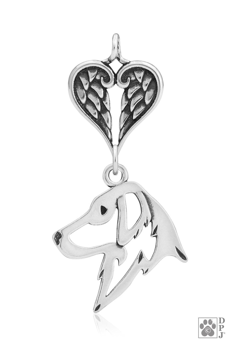Flat-Coated Retriever, Head, with Healing Angels Pendant
