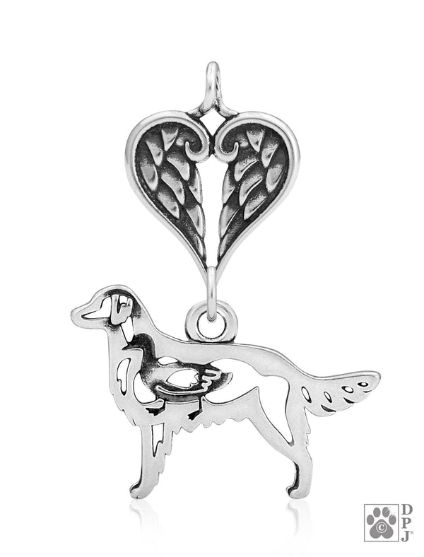 Flat-Coated Retriever, Body, with Healing Angels Pendant