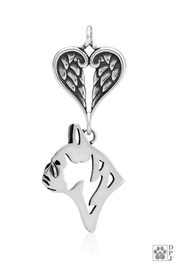 French Bulldog, Head,  with Healing Angels Pendant