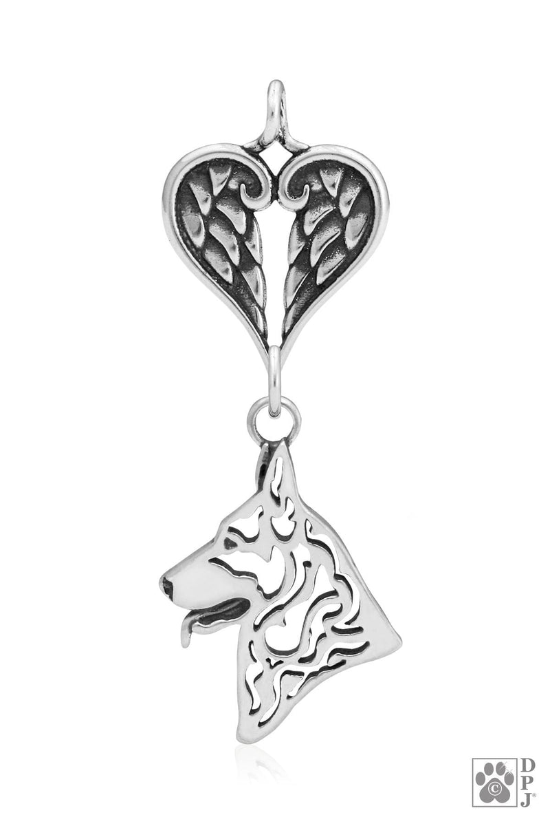 German Shepherd Dog, Head, with Healing Angels Pendant