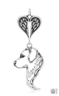 Golden Retriever, Head, with Healing Angels Pendant