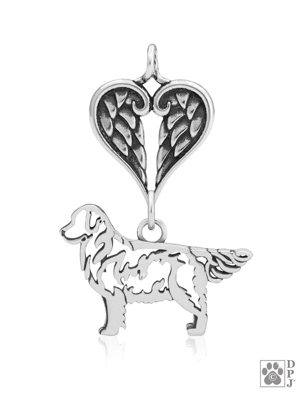 Golden Retriever, Body, with Healing Angels Pendant