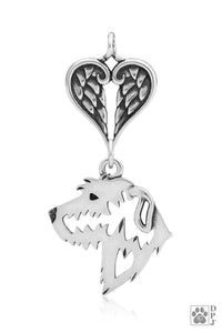 Irish Wolfhound, Head, with Healing Angels Pendant