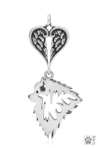Keeshond, Head, with Healing Angels Pendant