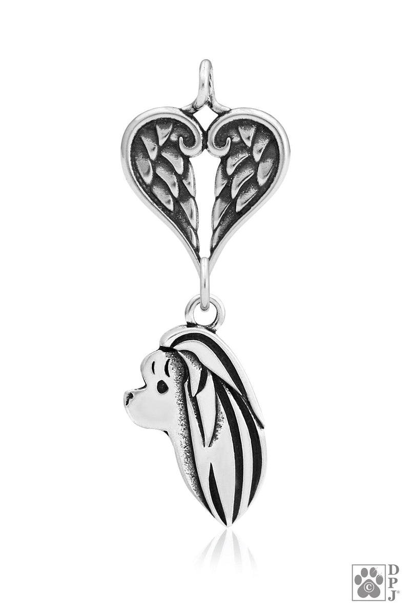 Maltese, Head, with Healing Angels Pendant