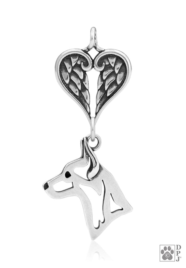 Rat Terrier, Head, with Healing Angels Pendant