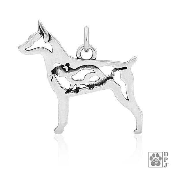 Rat Terrier w/Rat, Doc tail Body, Pendant