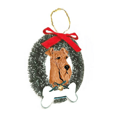 Airedale Terrier Wreath and Bone Ornament