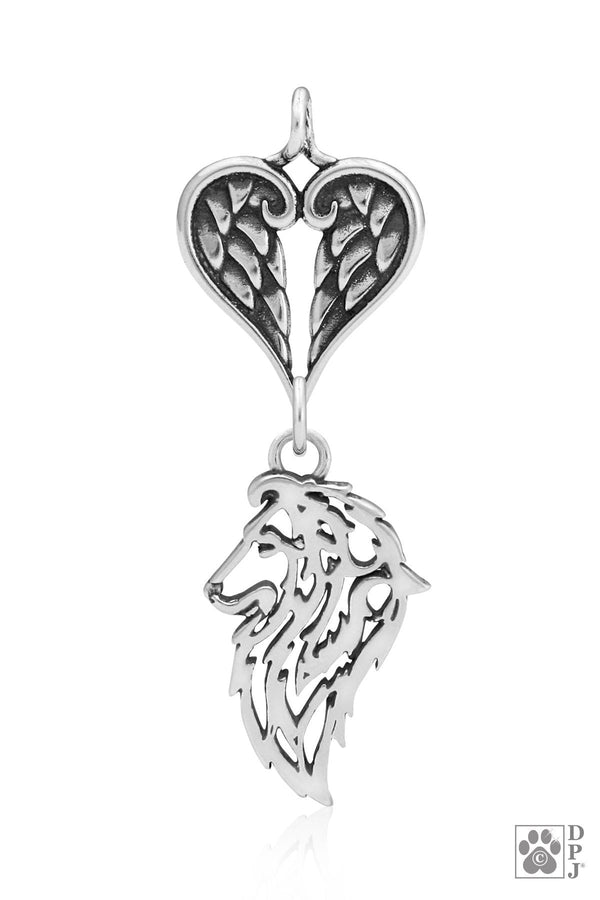 Shetland Sheepdog, Head, with Healing Angels Pendant