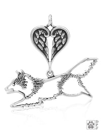 Shetland Sheepdog Jumping, Body, with Healing Angels Pendant