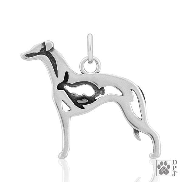 Whippet w/Bunny, Body, Pendant