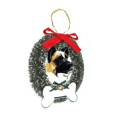 Akita Wreath and Bone Ornament