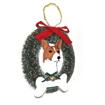 Basenji Wreath and Bone Ornament