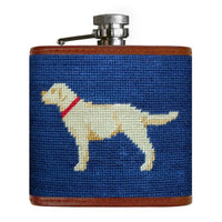Yellow Labrador Retriever Needlepoint Flask