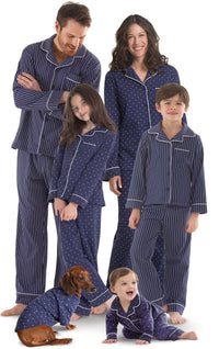 Navy Pindot Matching Pajamas for Humans and Dogs