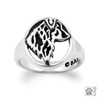 Australian Shepherd, Head, Sterling Silver Ring