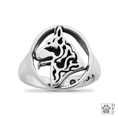 German Shepherd Dog, Head, Sterling Silver Ring
