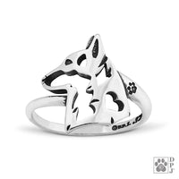 Pembroke Welsh Corgi, Head, Sterling Silver Ring