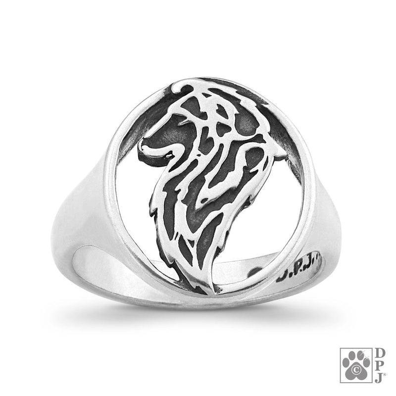Shetland Sheepdog, Head, Sterling Silver Ring