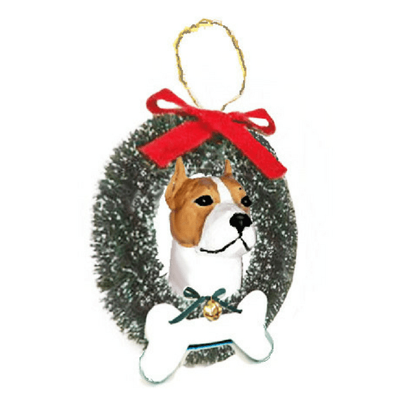 American Staffordshire Terrier Wreath and Bone Ornament