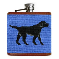 Black Labrador Retriever Needlepoint Flask