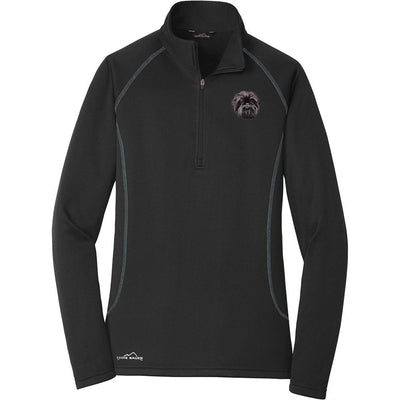 Affenpinscher Embroidered Eddie Bauer Ladies Quarter Zip Pullover Fleece