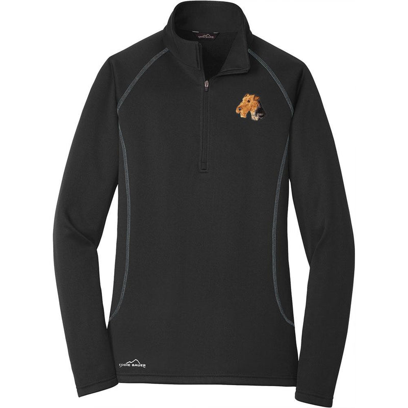 Embroidered Eddie Bauer Ladies Base Layer Fleece Black 3X-Large Airedale Terrier D67
