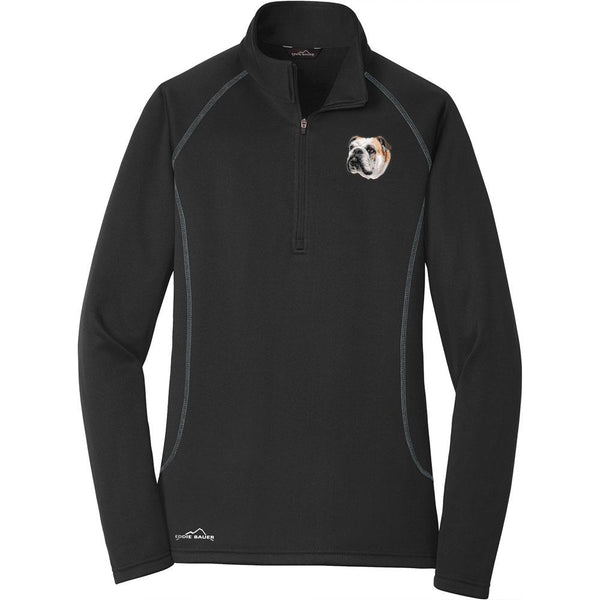Embroidered Eddie Bauer Ladies Base Layer Fleece Black 3X-Large Bulldog D59