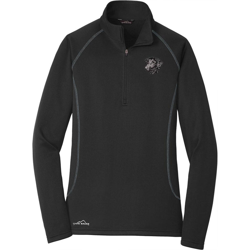 Embroidered Eddie Bauer Ladies Base Layer Fleece Black 3X-Large Curly Coated Retriever D137
