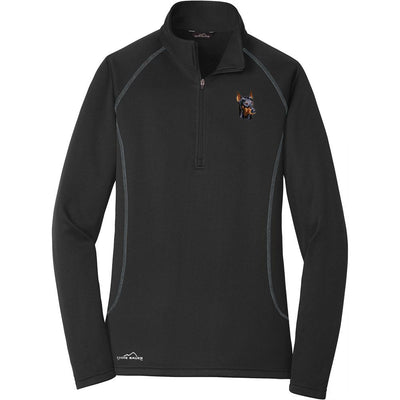 Doberman Pinscher Embroidered Eddie Bauer Ladies Quarter Zip Pullover Fleece