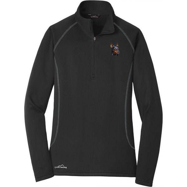 Embroidered Eddie Bauer Ladies Base Layer Fleece Black 3X-Large Doberman Pinscher DM346