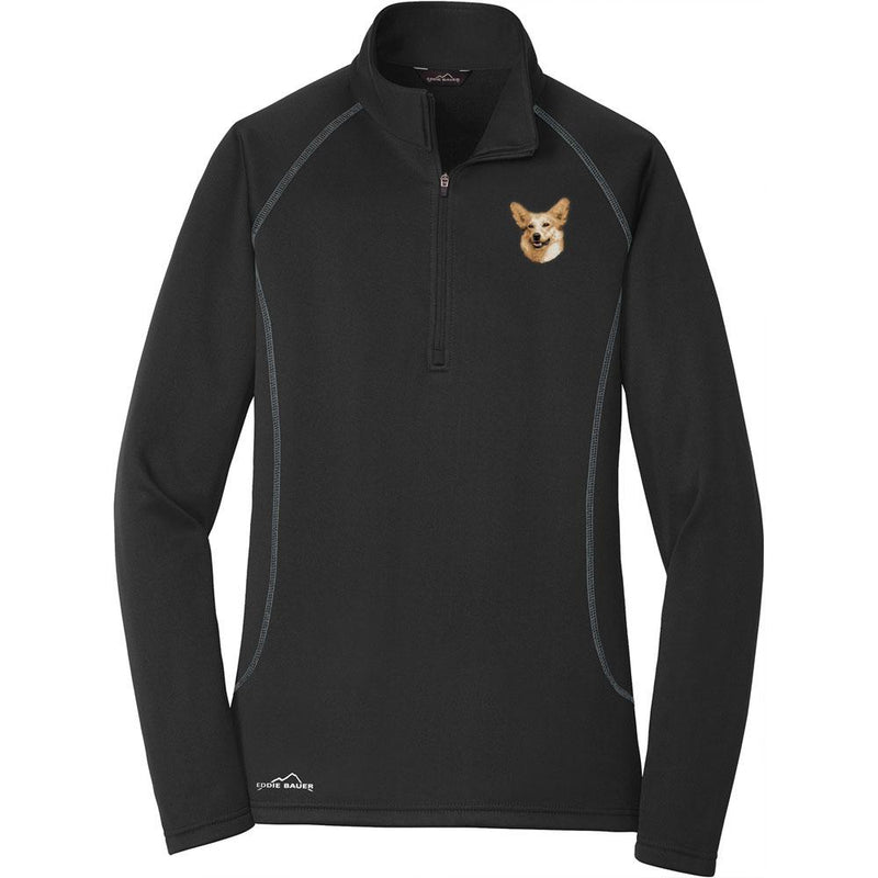 Embroidered Eddie Bauer Ladies Base Layer Fleece Black 3X-Large Pembroke Welsh Corgi D34